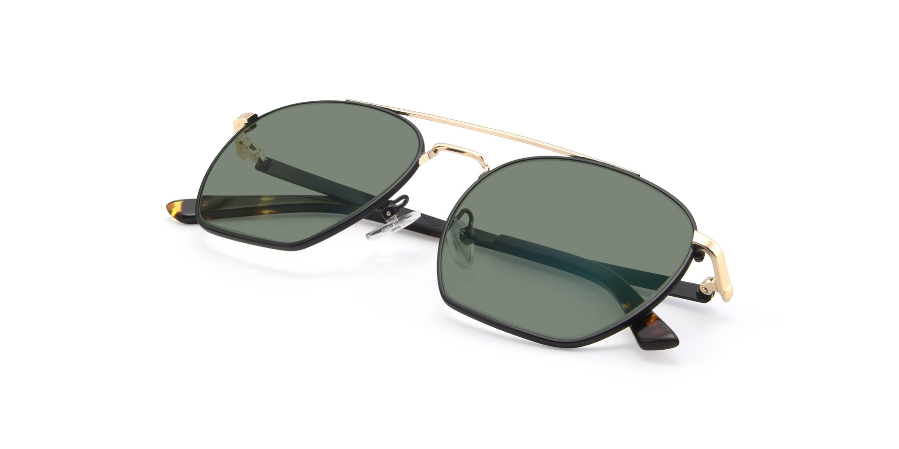 View of 9425 in Black-Gold with Medium Green Tinted Lenses