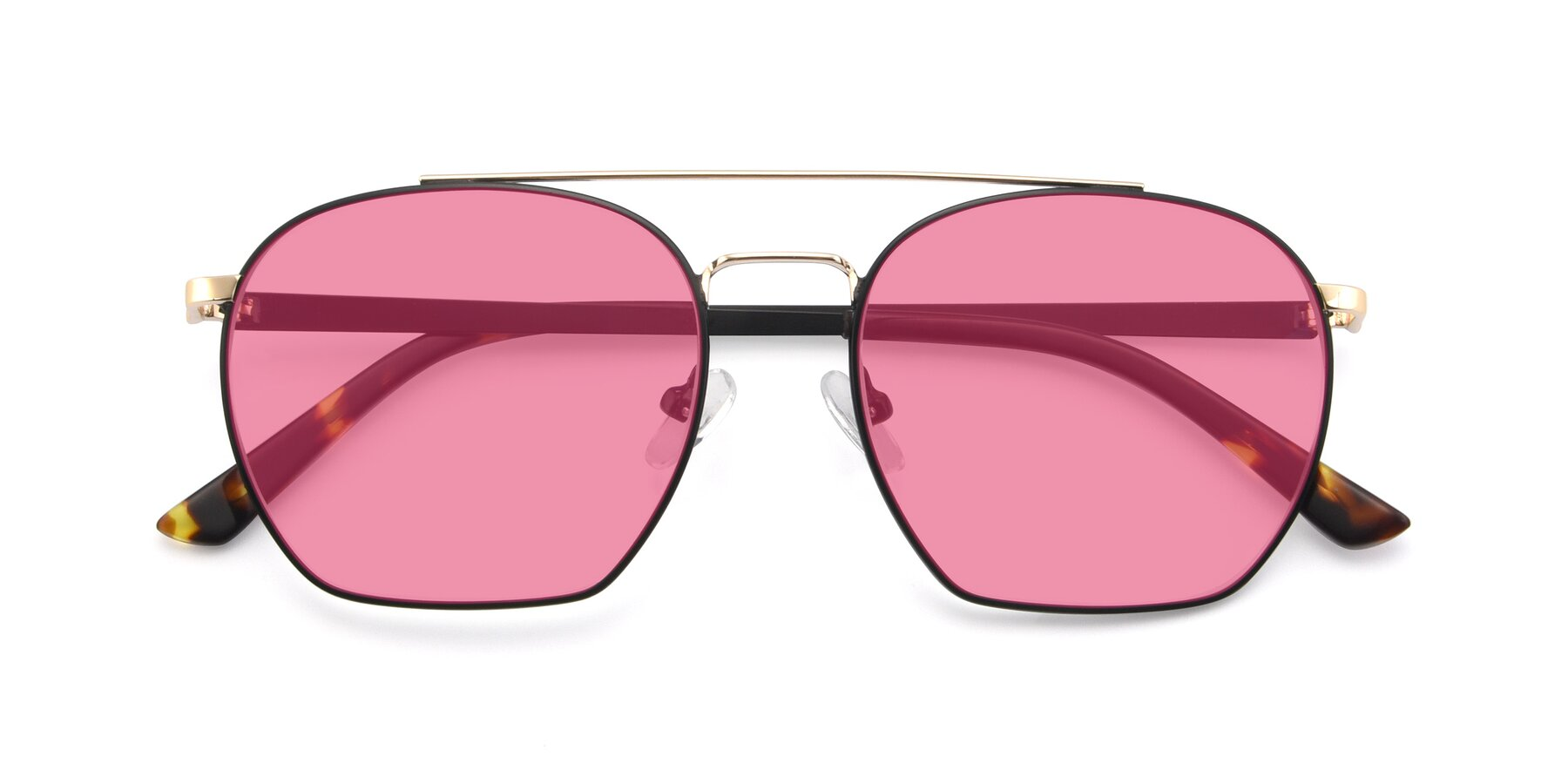 Folded Front of 9425 in Black-Gold with Pink Tinted Lenses