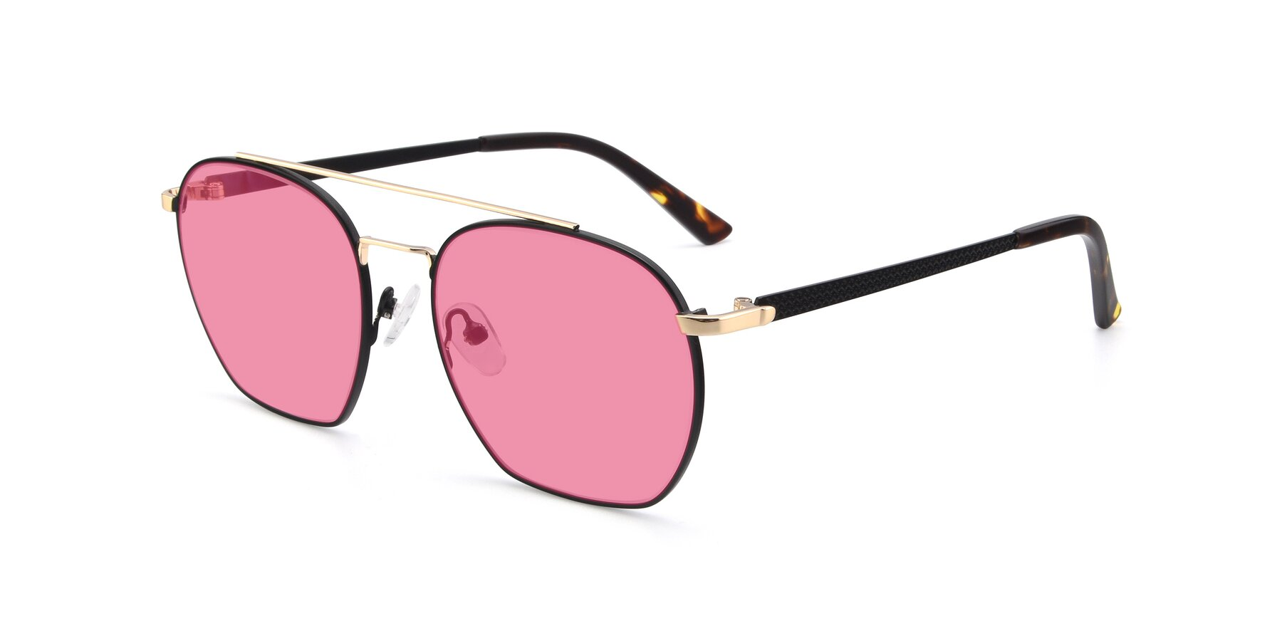 Angle of 9425 in Black-Gold with Pink Tinted Lenses