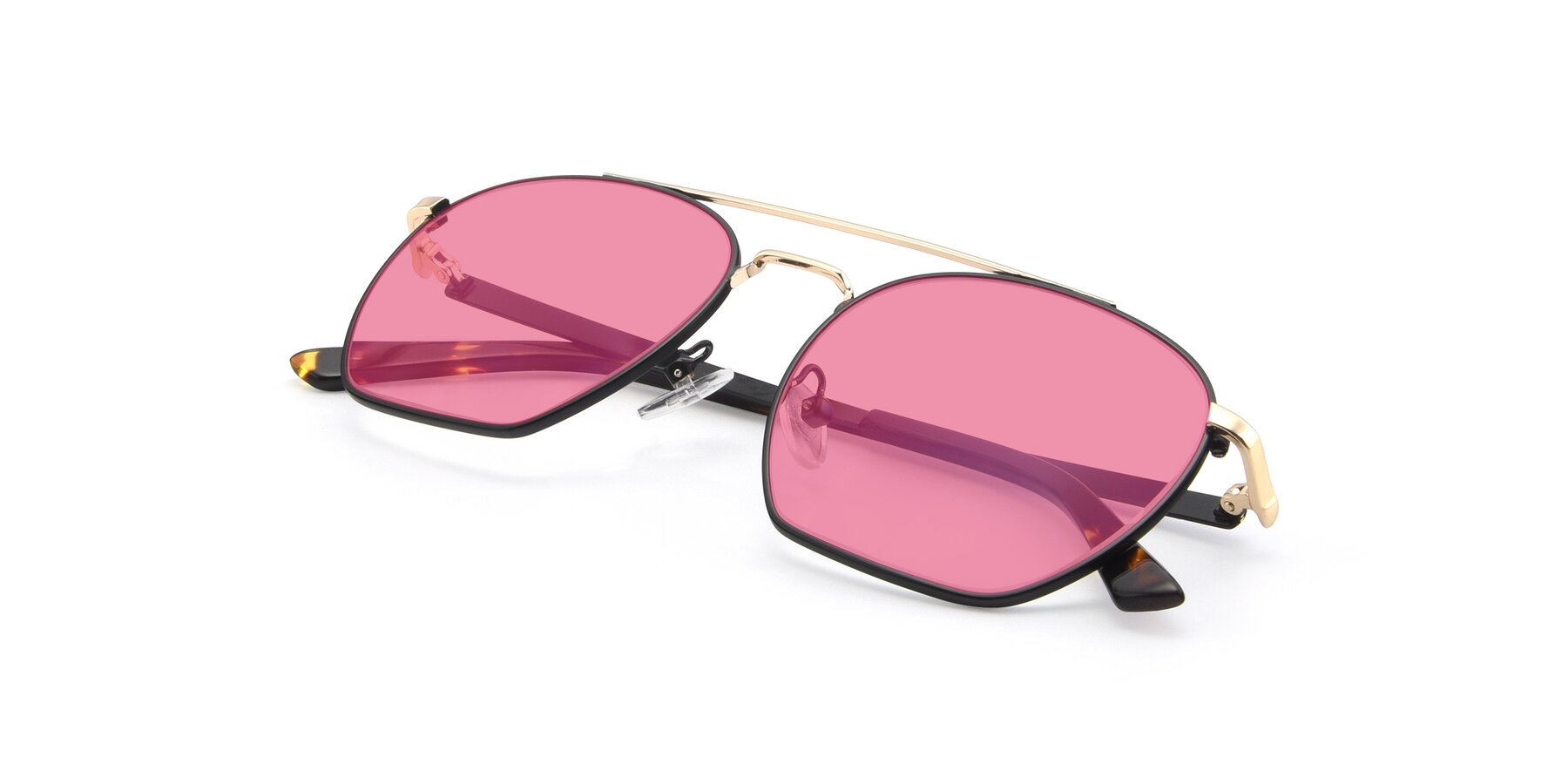 View of 9425 in Black-Gold with Pink Tinted Lenses