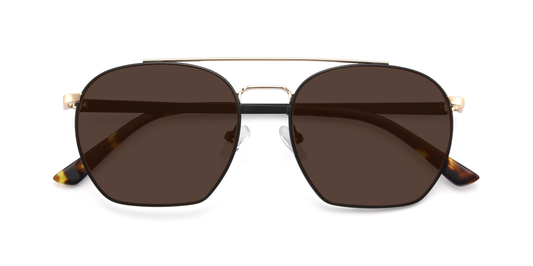 Folded Front of 9425 in Black-Gold with Brown Tinted Lenses