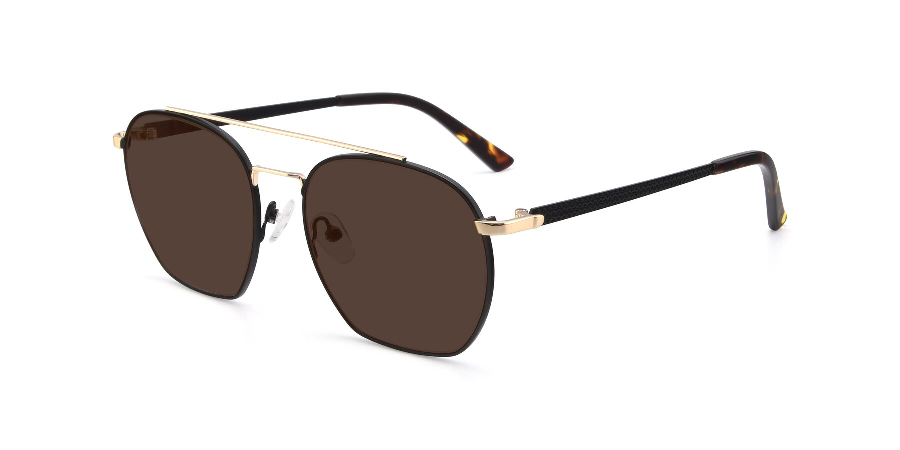 Angle of 9425 in Black-Gold with Brown Tinted Lenses