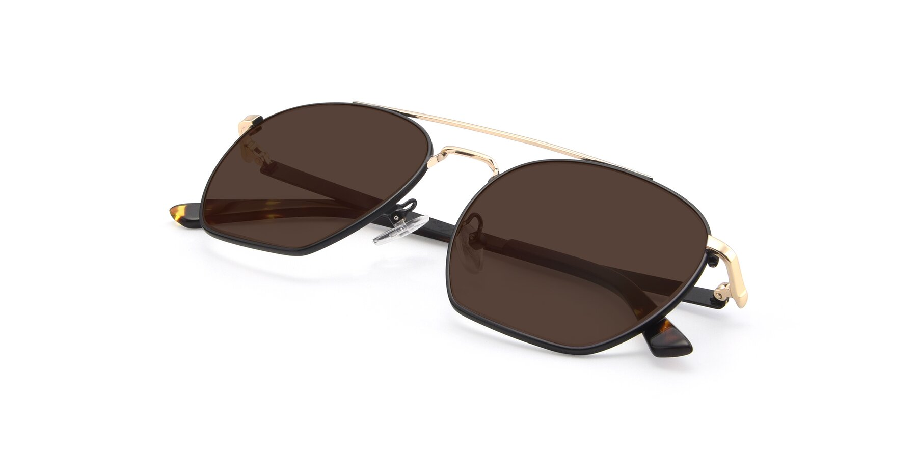 View of 9425 in Black-Gold with Brown Tinted Lenses
