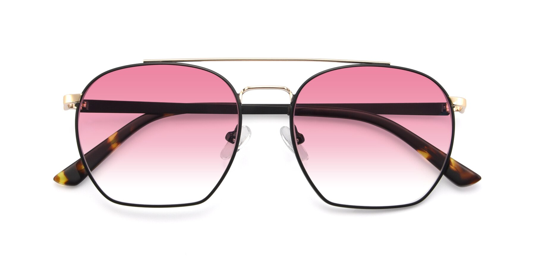 Folded Front of 9425 in Black-Gold with Pink Gradient Lenses