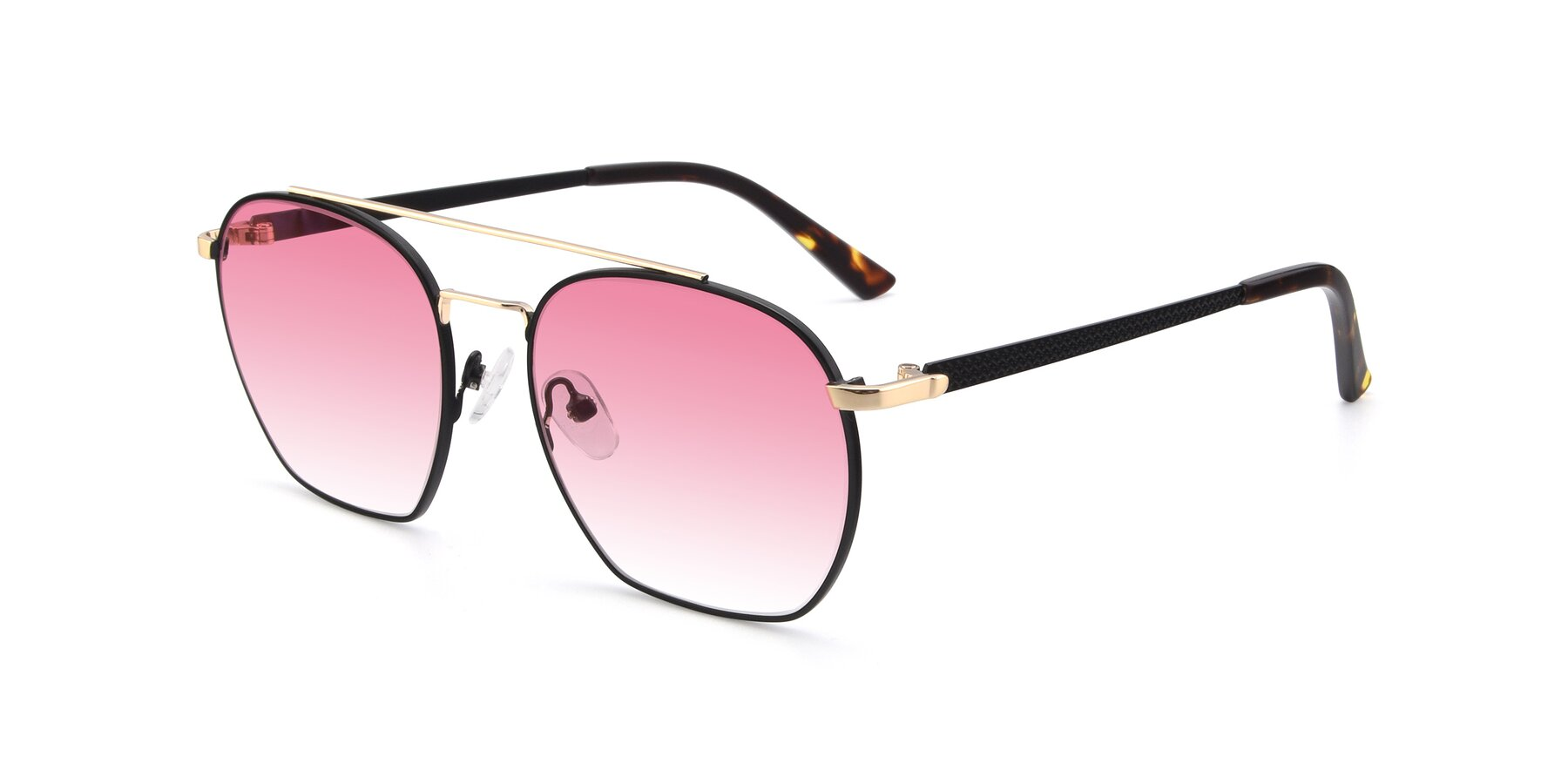 Angle of 9425 in Black-Gold with Pink Gradient Lenses