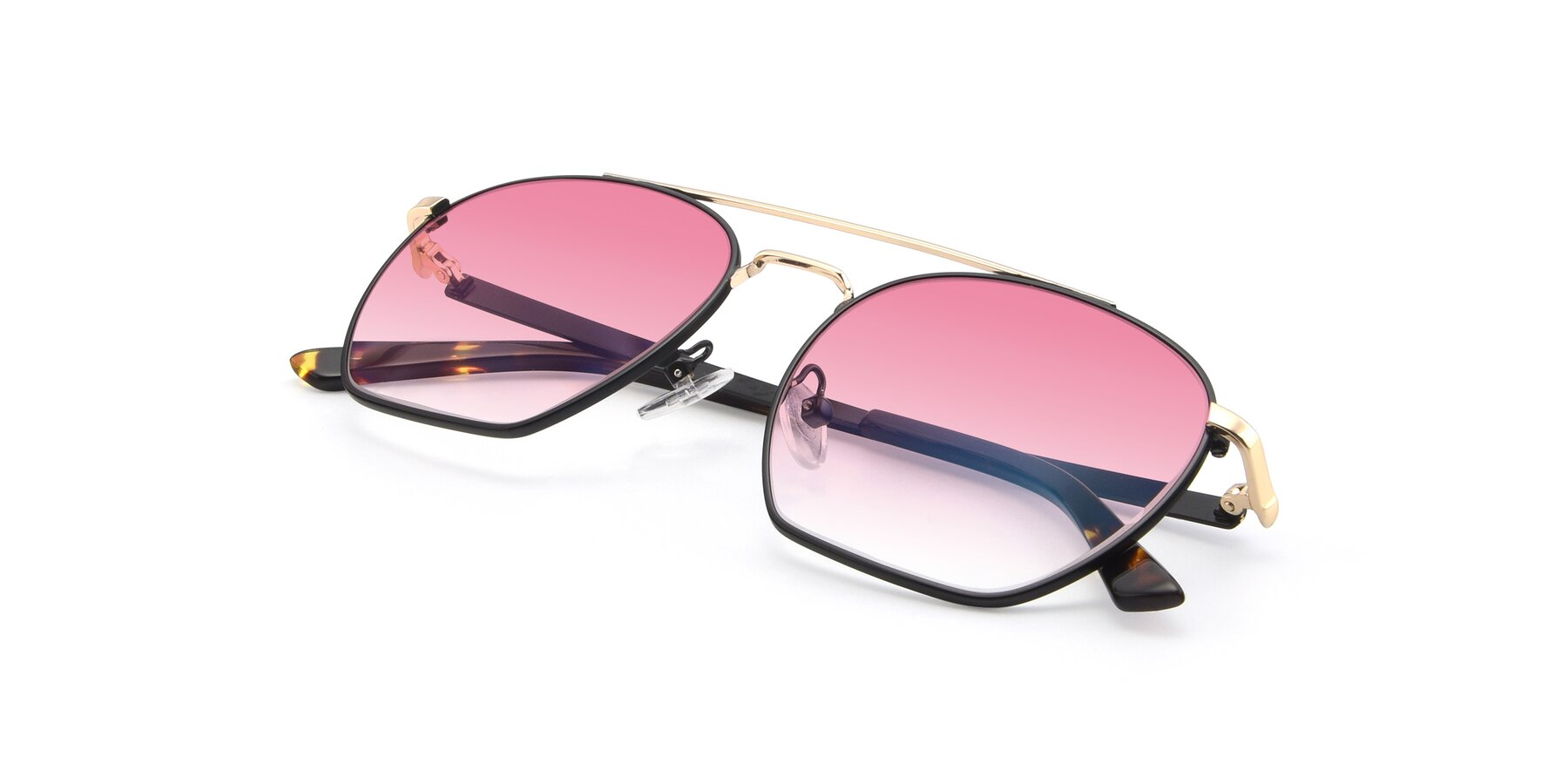 View of 9425 in Black-Gold with Pink Gradient Lenses