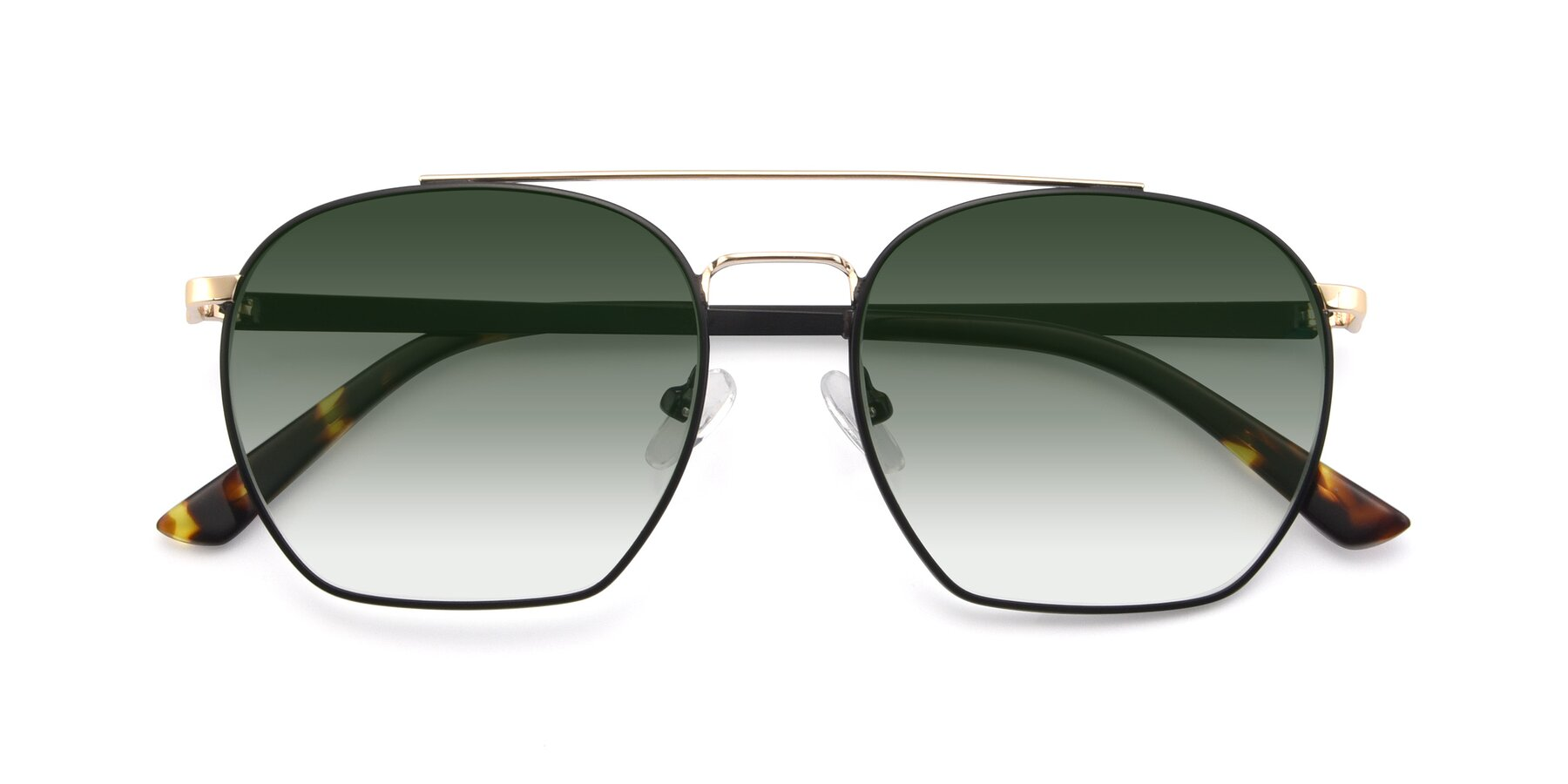 Folded Front of 9425 in Black-Gold with Green Gradient Lenses