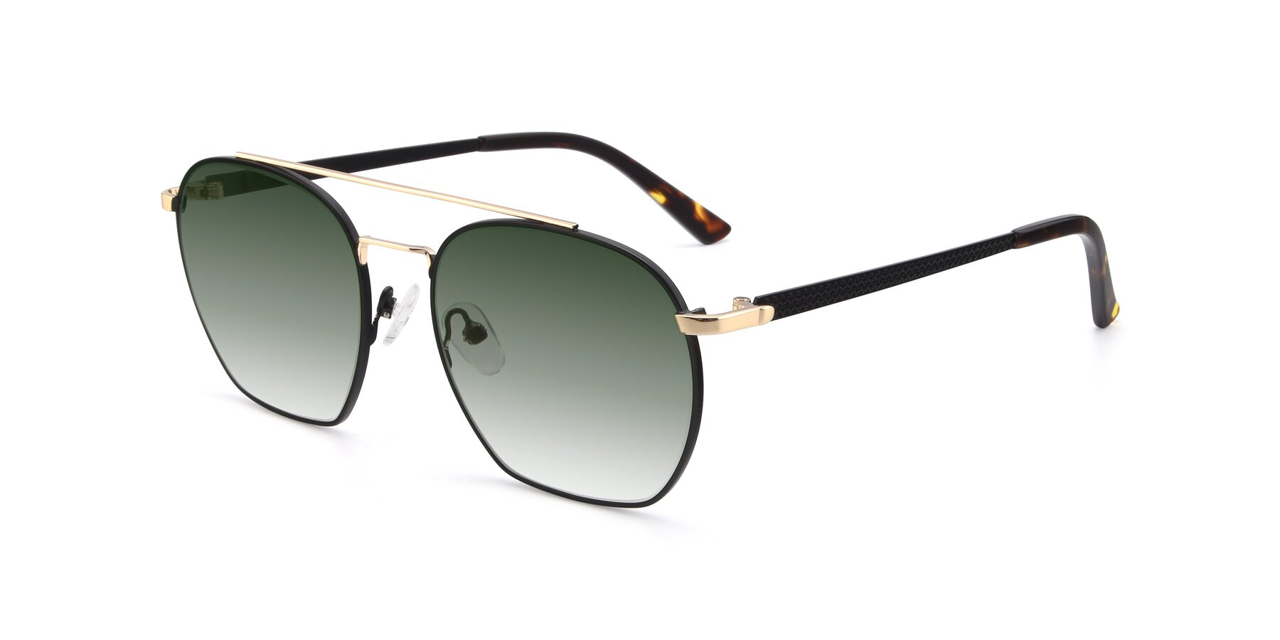 Angle of 9425 in Black-Gold with Green Gradient Lenses