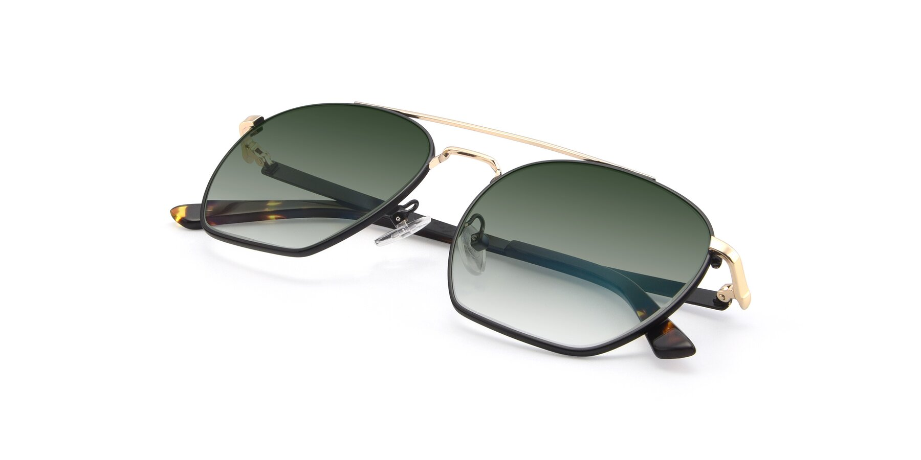 View of 9425 in Black-Gold with Green Gradient Lenses