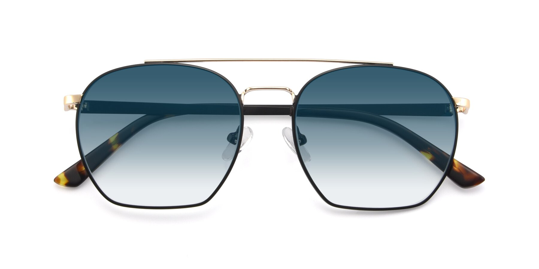 Folded Front of 9425 in Black-Gold with Blue Gradient Lenses