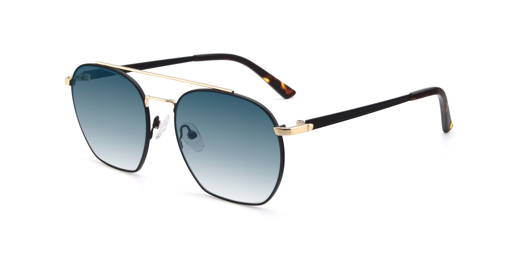 Angle of 9425 in Black-Gold with Blue Gradient Lenses