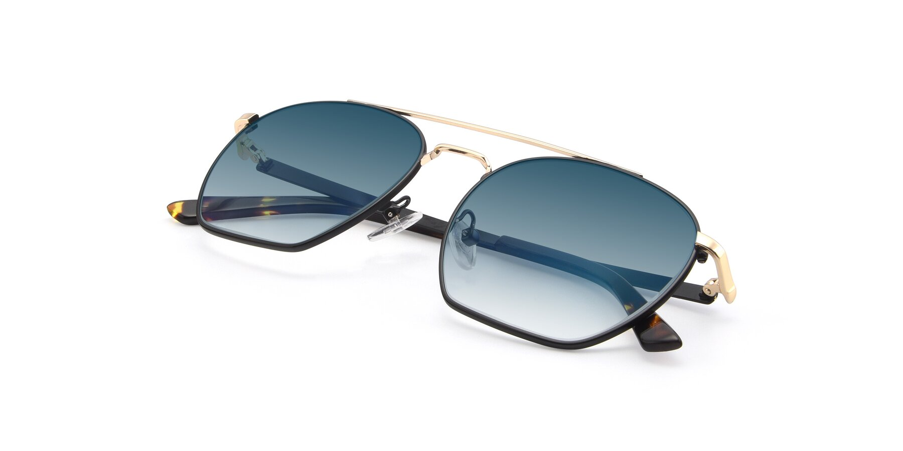 View of 9425 in Black-Gold with Blue Gradient Lenses