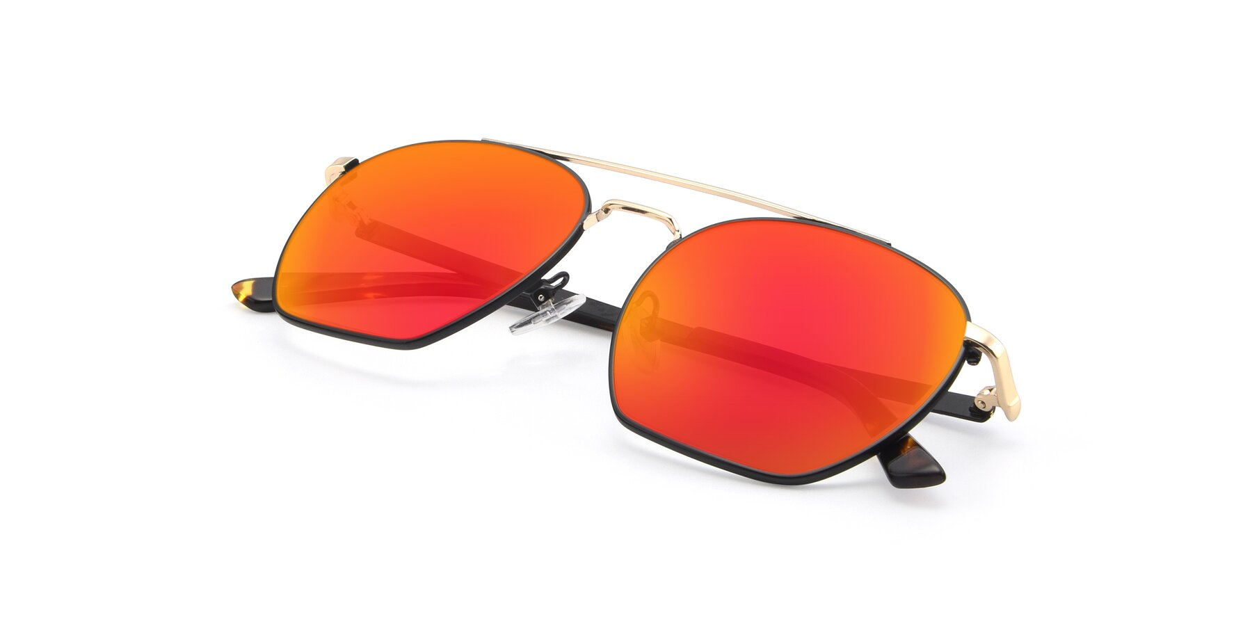 View of 9425 in Black-Gold with Red Gold Mirrored Lenses