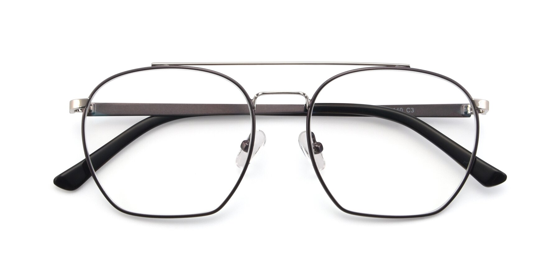 Folded Front of 9425 in Black-Silver with Clear Blue Light Blocking Lenses