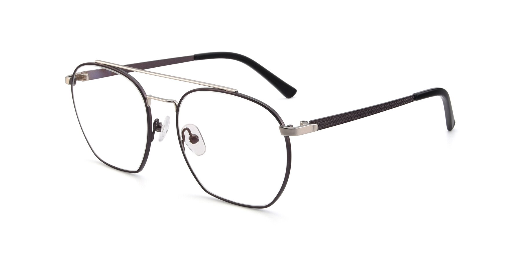 Angle of 9425 in Black-Silver with Clear Blue Light Blocking Lenses