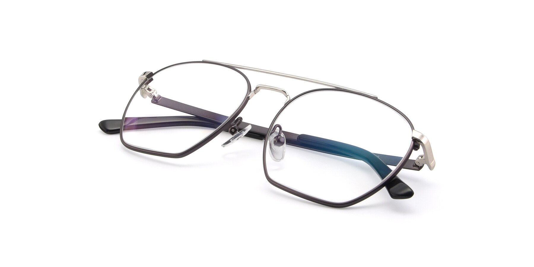 View of 9425 in Black-Silver with Clear Blue Light Blocking Lenses