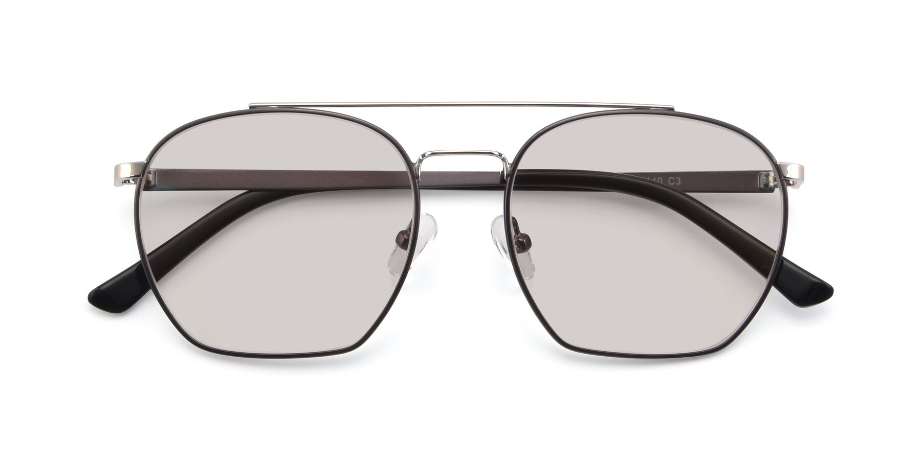 Folded Front of 9425 in Black-Silver with Light Brown Tinted Lenses