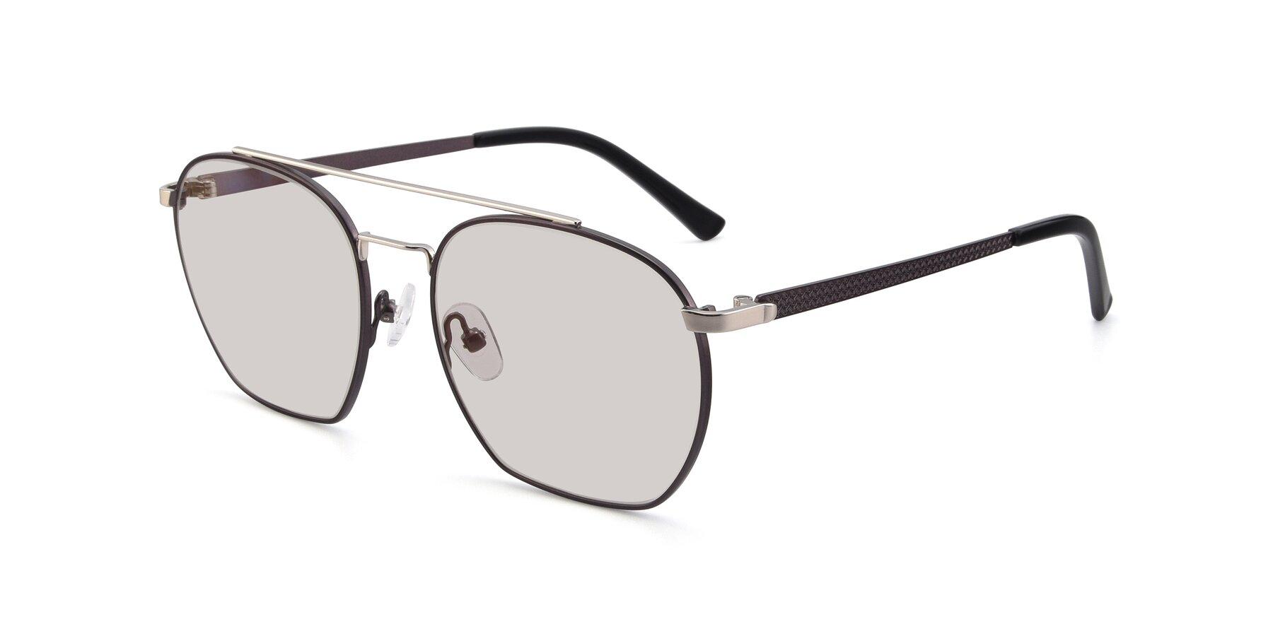 Angle of 9425 in Black-Silver with Light Brown Tinted Lenses