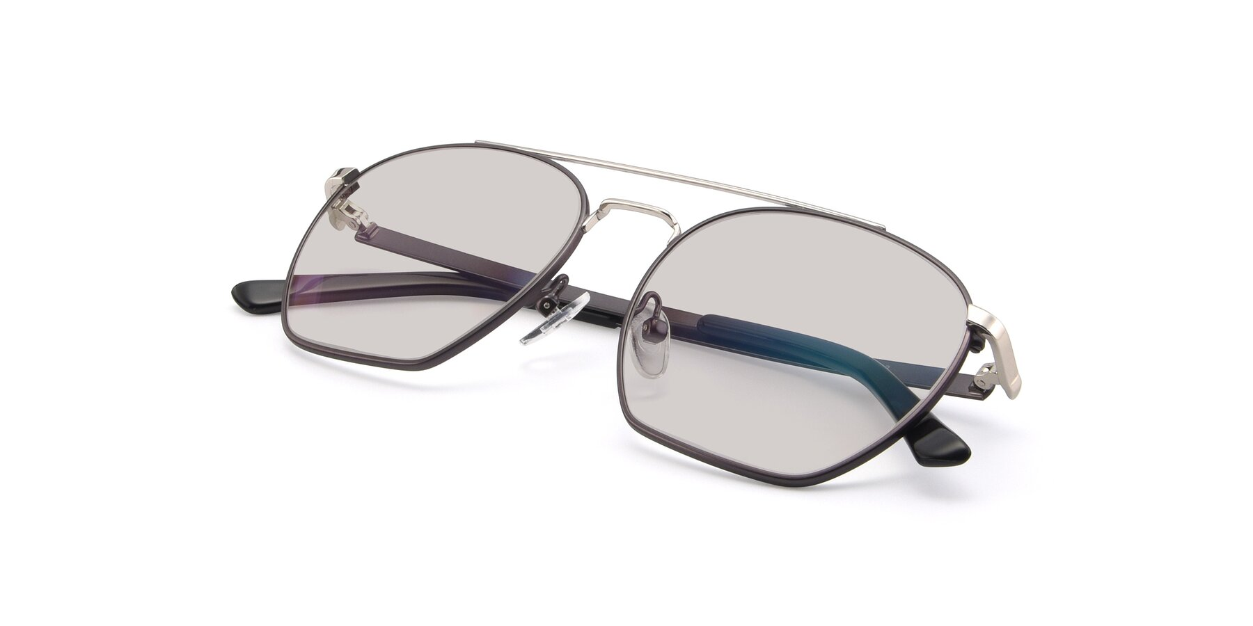 View of 9425 in Black-Silver with Light Brown Tinted Lenses