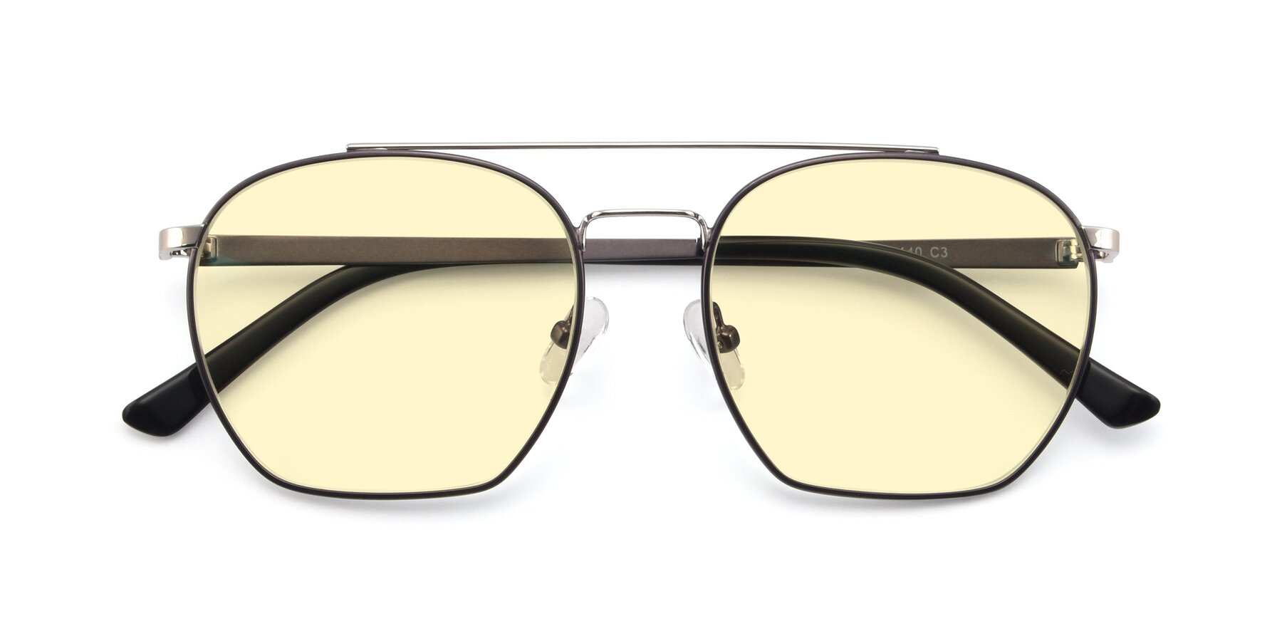 Folded Front of 9425 in Black-Silver with Light Yellow Tinted Lenses