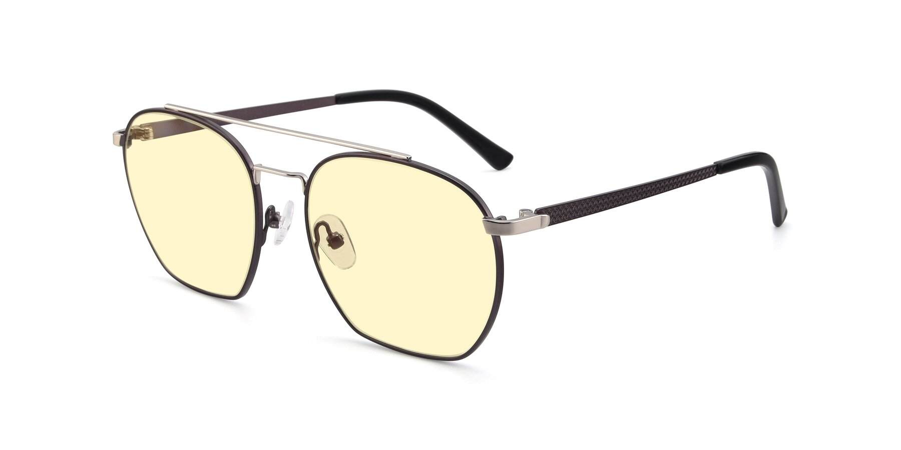 Angle of 9425 in Black-Silver with Light Yellow Tinted Lenses