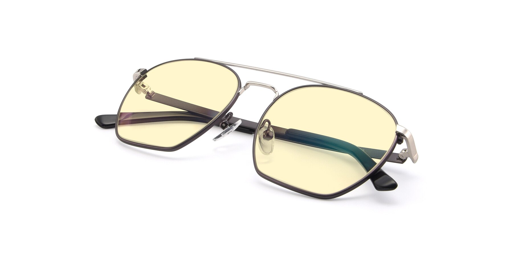 View of 9425 in Black-Silver with Light Yellow Tinted Lenses