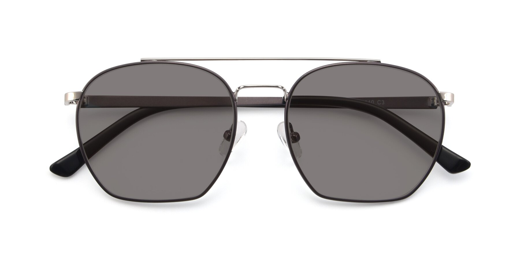 Folded Front of 9425 in Black-Silver with Medium Gray Tinted Lenses