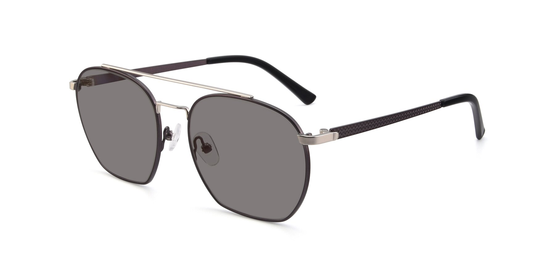 Angle of 9425 in Black-Silver with Medium Gray Tinted Lenses