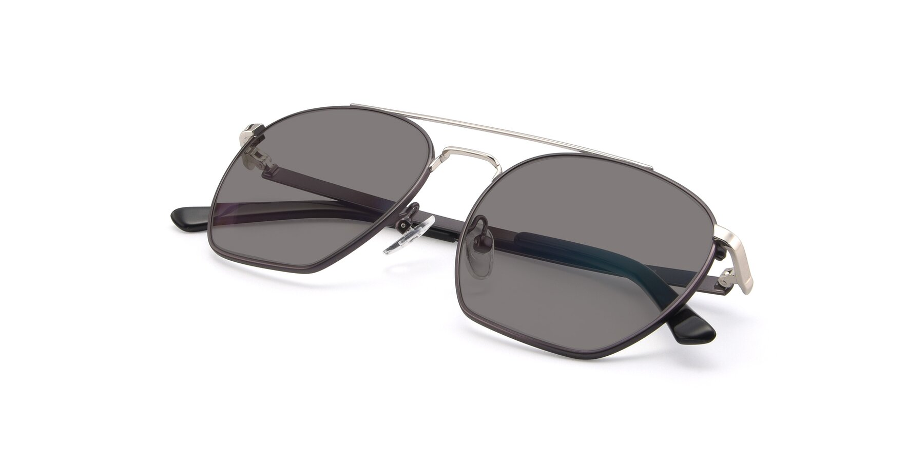 View of 9425 in Black-Silver with Medium Gray Tinted Lenses