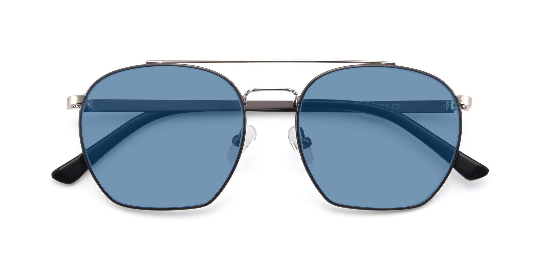 Folded Front of 9425 in Black-Silver with Medium Blue Tinted Lenses