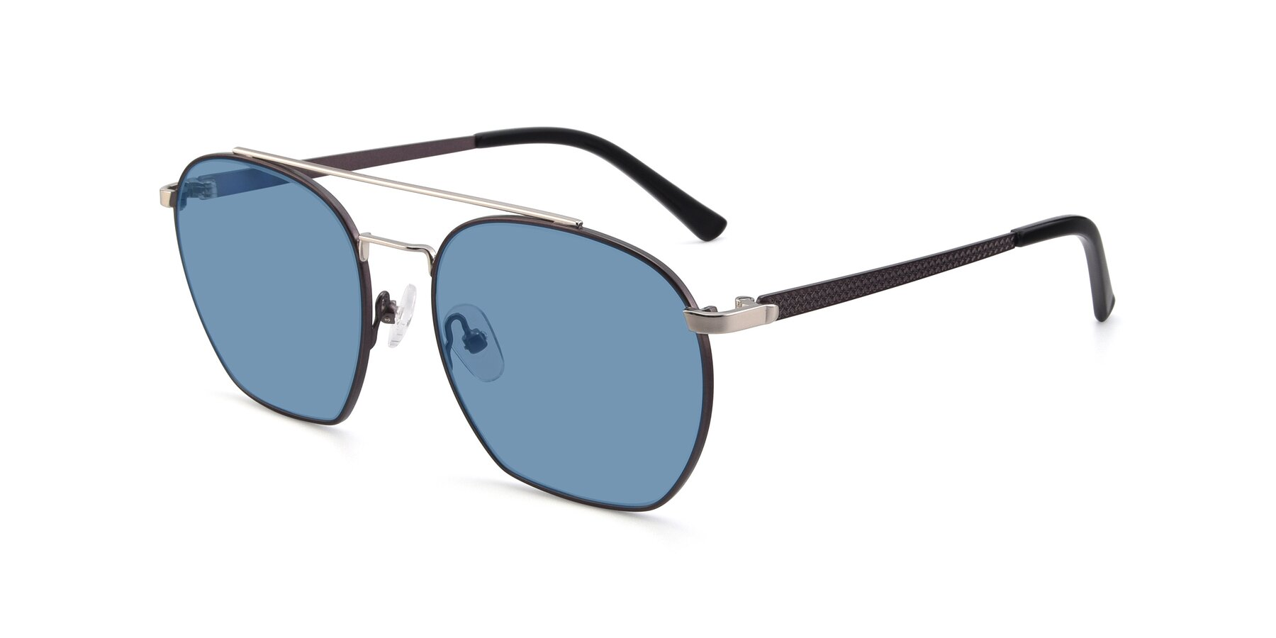 Angle of 9425 in Black-Silver with Medium Blue Tinted Lenses