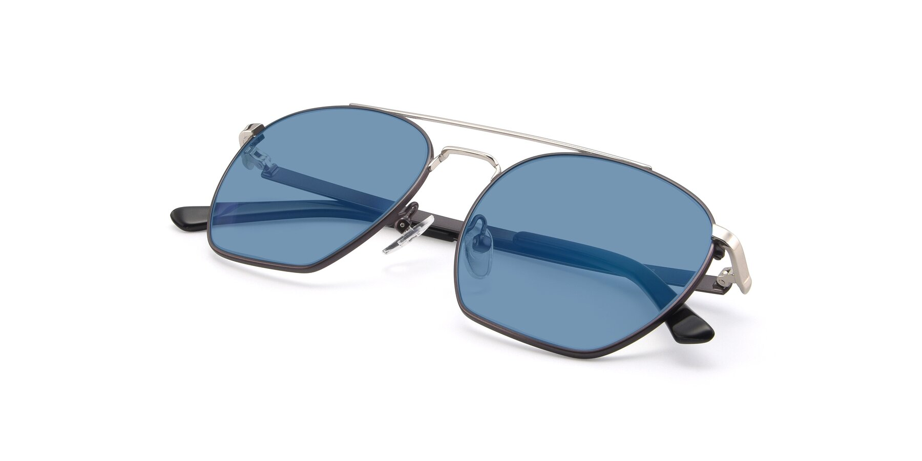 View of 9425 in Black-Silver with Medium Blue Tinted Lenses