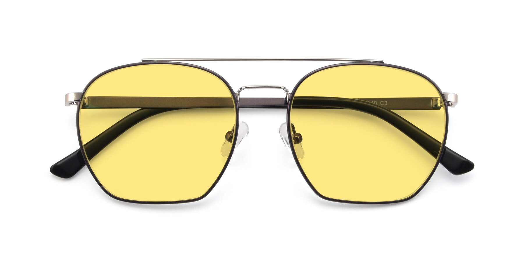 Folded Front of 9425 in Black-Silver with Medium Yellow Tinted Lenses