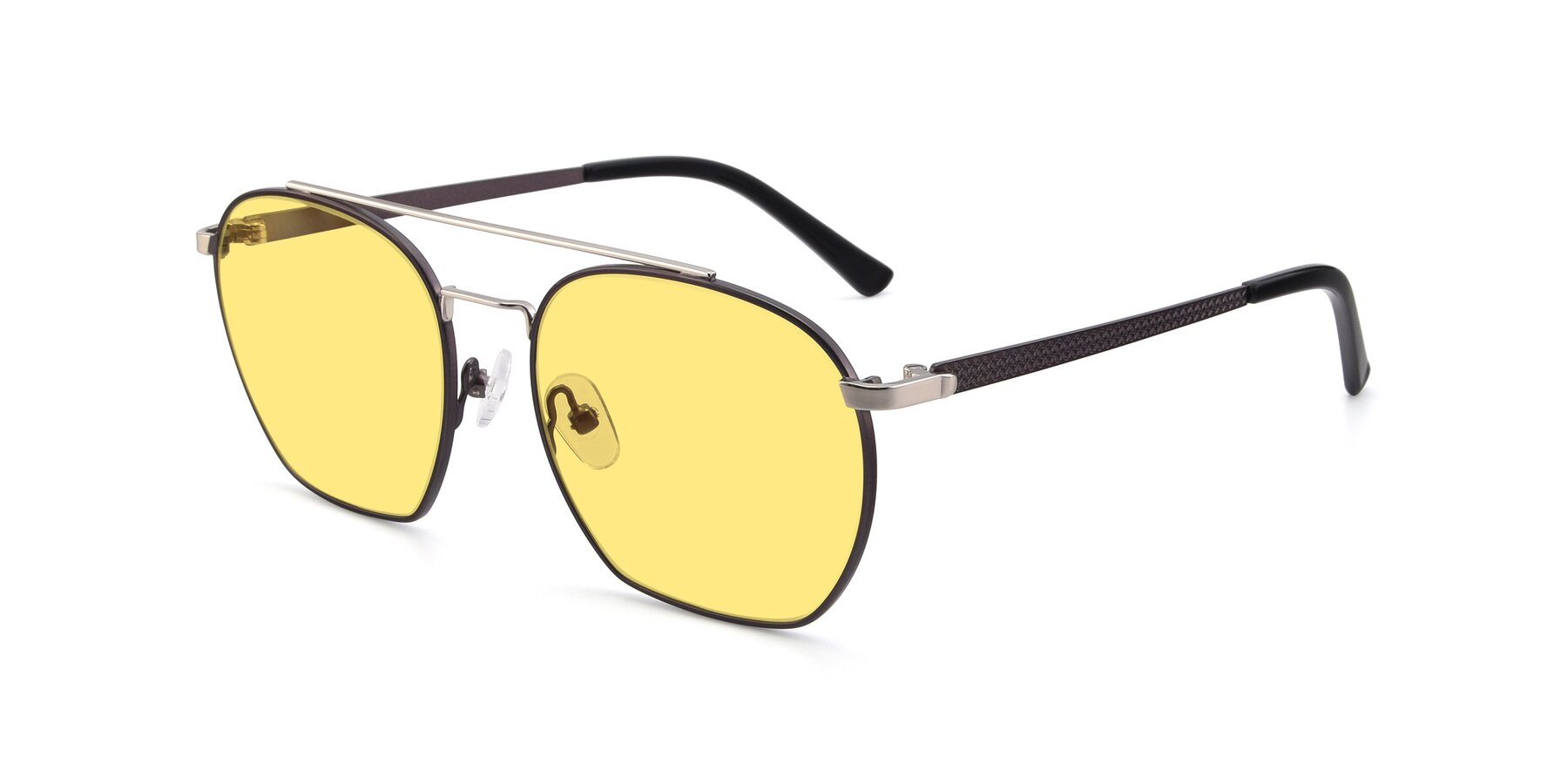 Angle of 9425 in Black-Silver with Medium Yellow Tinted Lenses