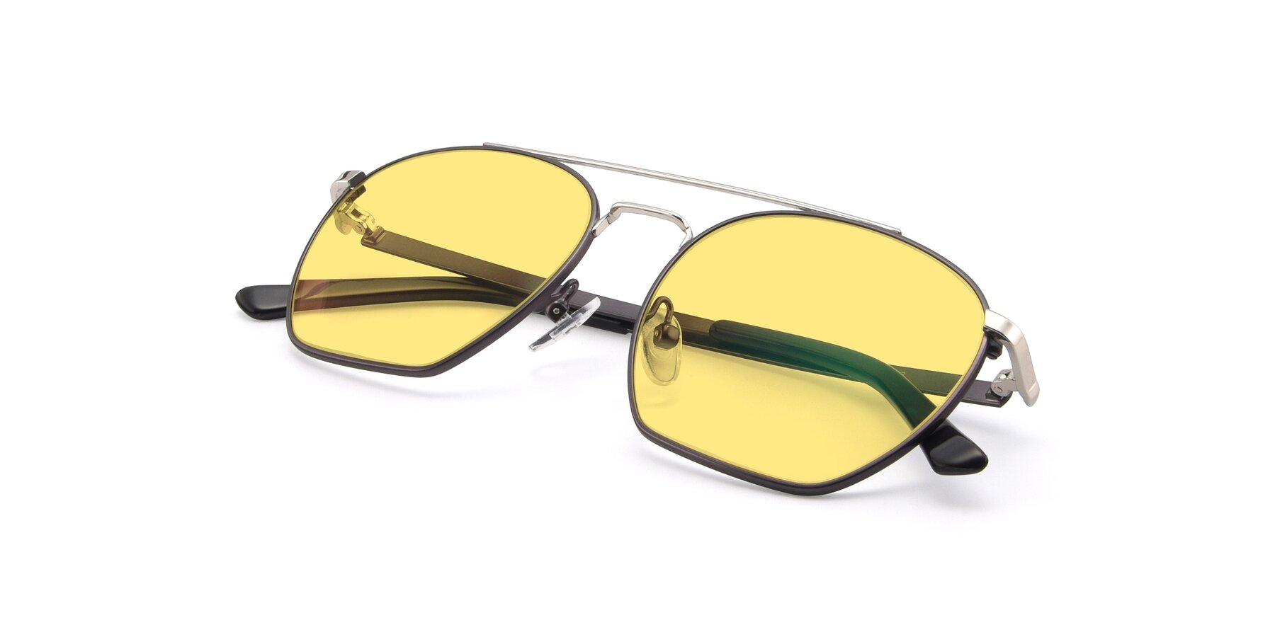 View of 9425 in Black-Silver with Medium Yellow Tinted Lenses