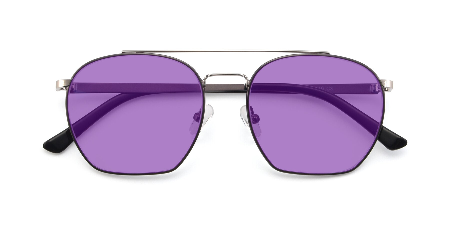 Folded Front of 9425 in Black-Silver with Medium Purple Tinted Lenses