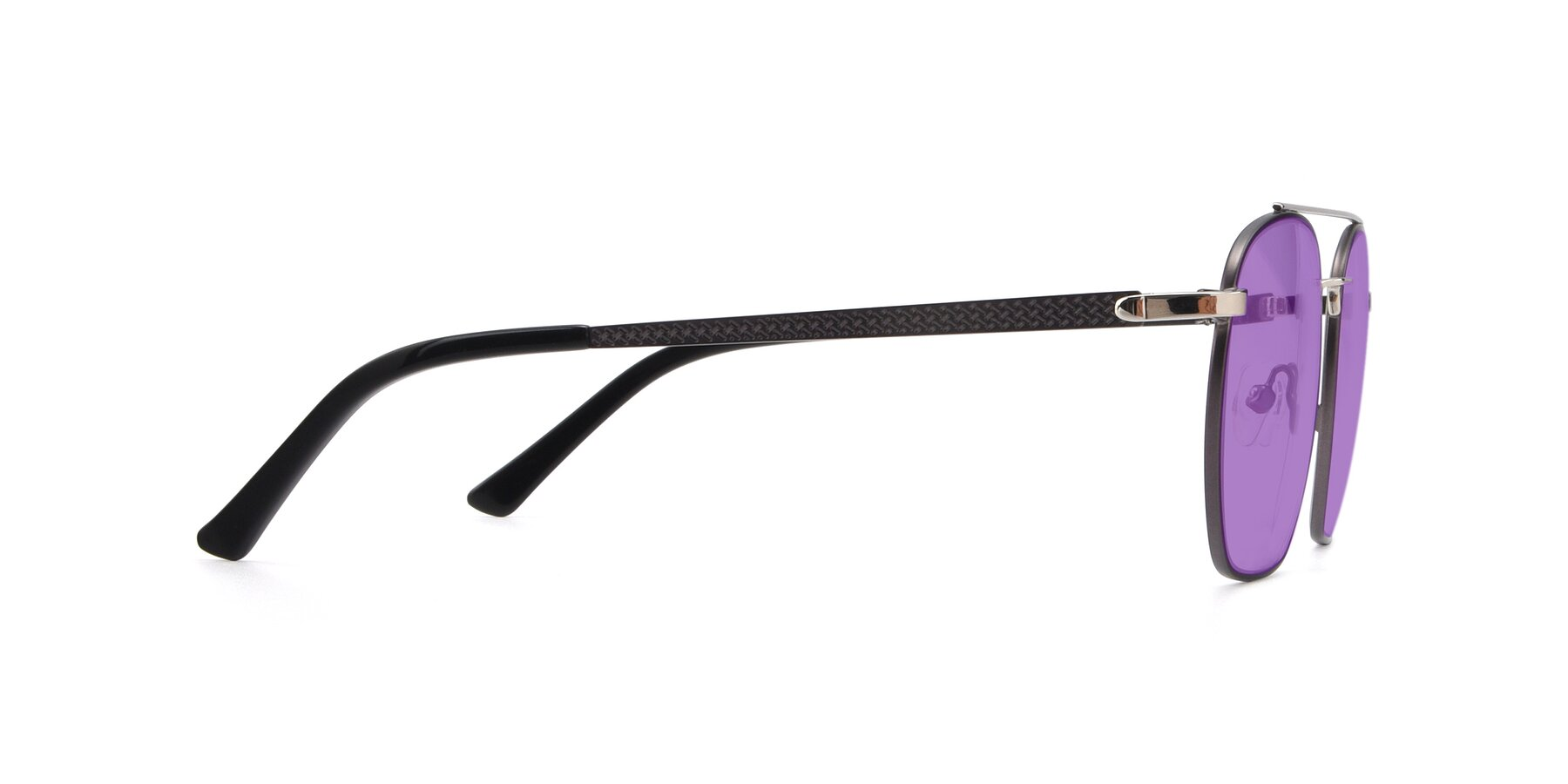 Side of 9425 in Black-Silver with Medium Purple Tinted Lenses