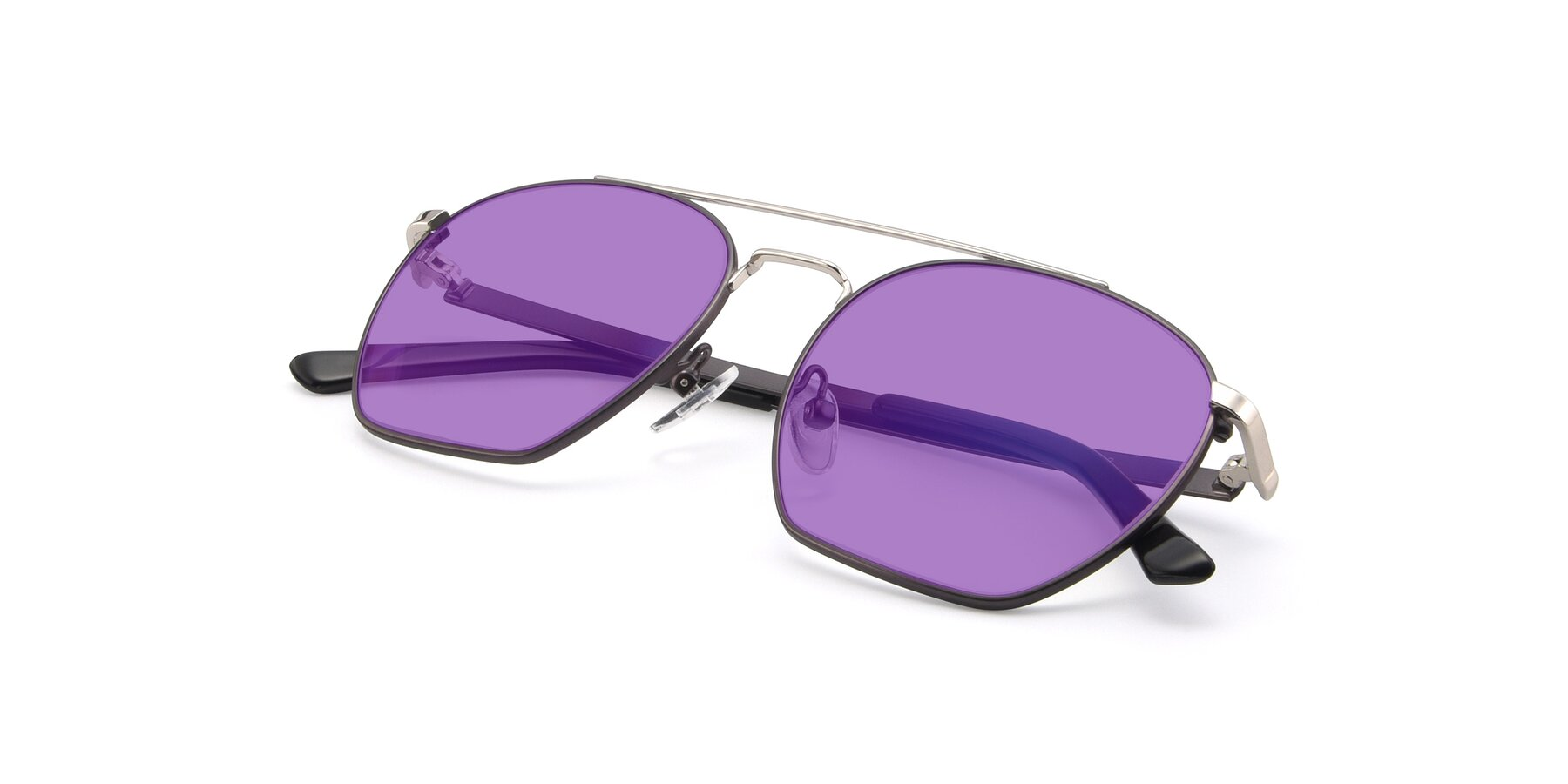 View of 9425 in Black-Silver with Medium Purple Tinted Lenses