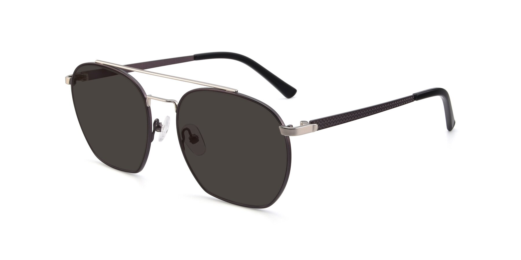 Angle of 9425 in Black-Silver with Gray Tinted Lenses