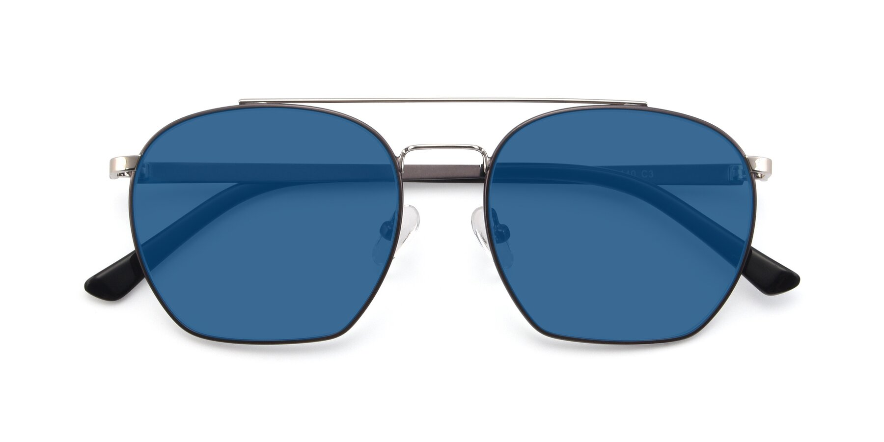 Folded Front of 9425 in Black-Silver with Blue Tinted Lenses