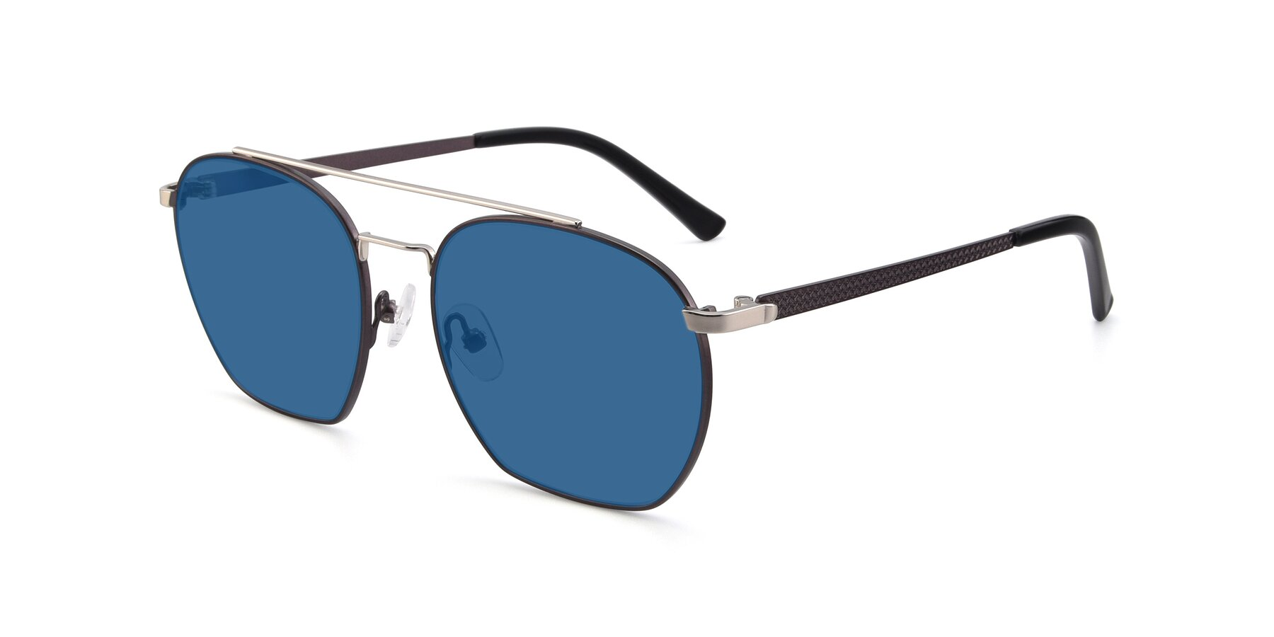 Angle of 9425 in Black-Silver with Blue Tinted Lenses