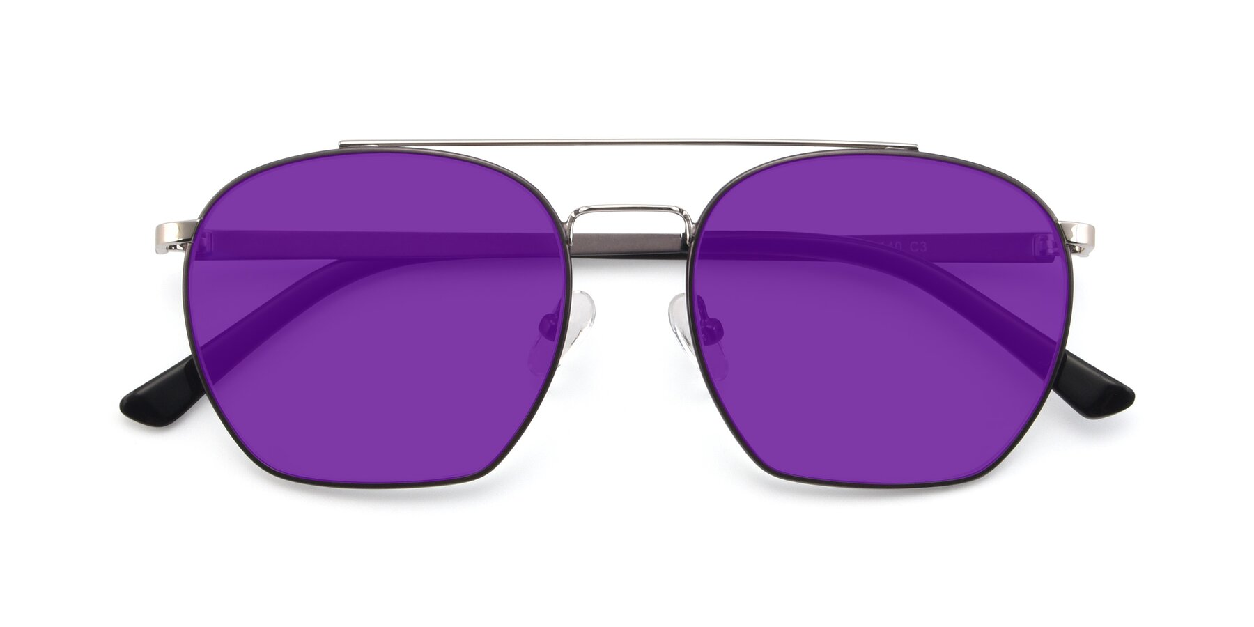 Folded Front of 9425 in Black-Silver with Purple Tinted Lenses