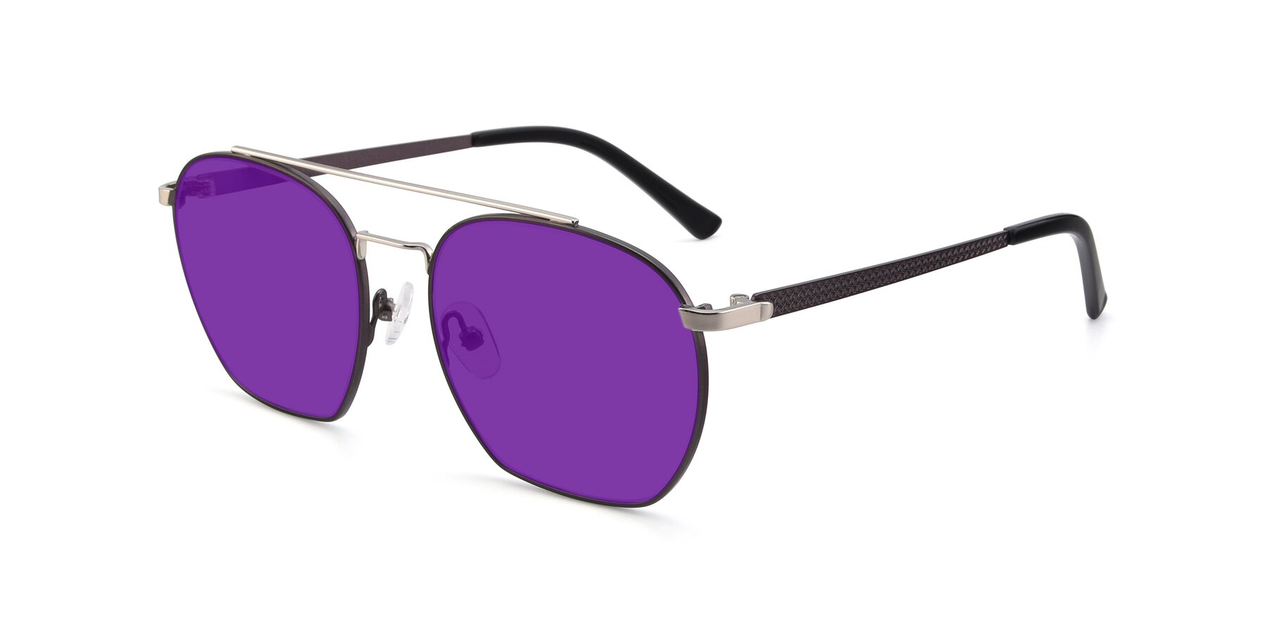 Angle of 9425 in Black-Silver with Purple Tinted Lenses