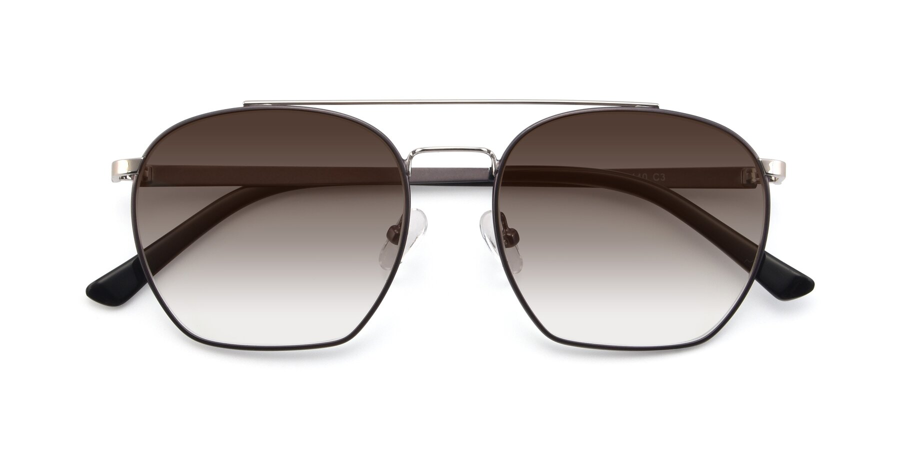 Folded Front of 9425 in Black-Silver with Brown Gradient Lenses