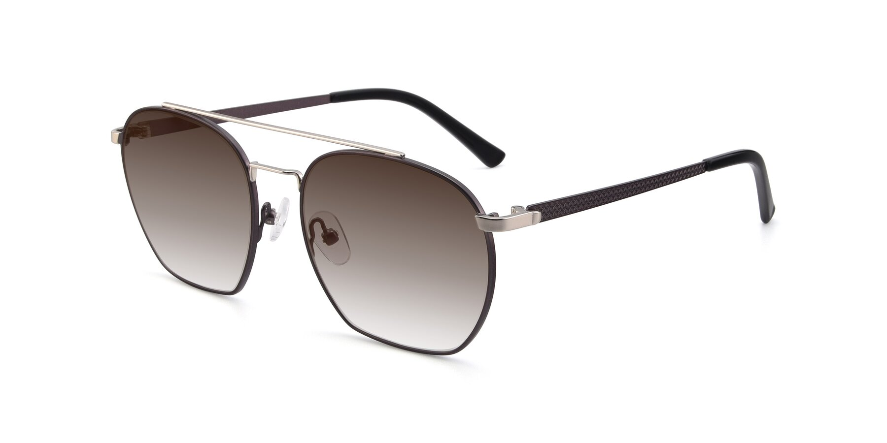 Angle of 9425 in Black-Silver with Brown Gradient Lenses