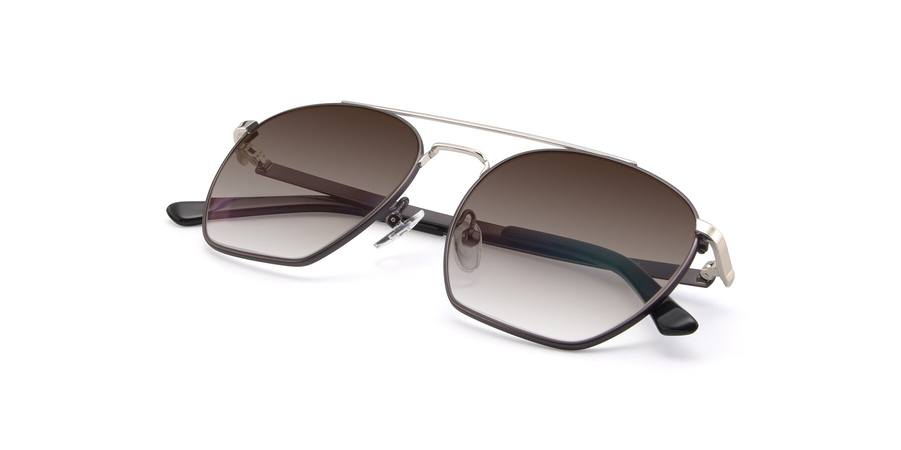View of 9425 in Black-Silver with Brown Gradient Lenses