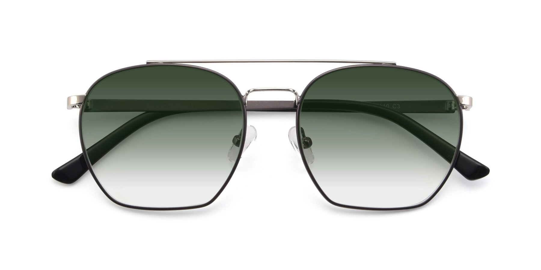 Folded Front of 9425 in Black-Silver with Green Gradient Lenses