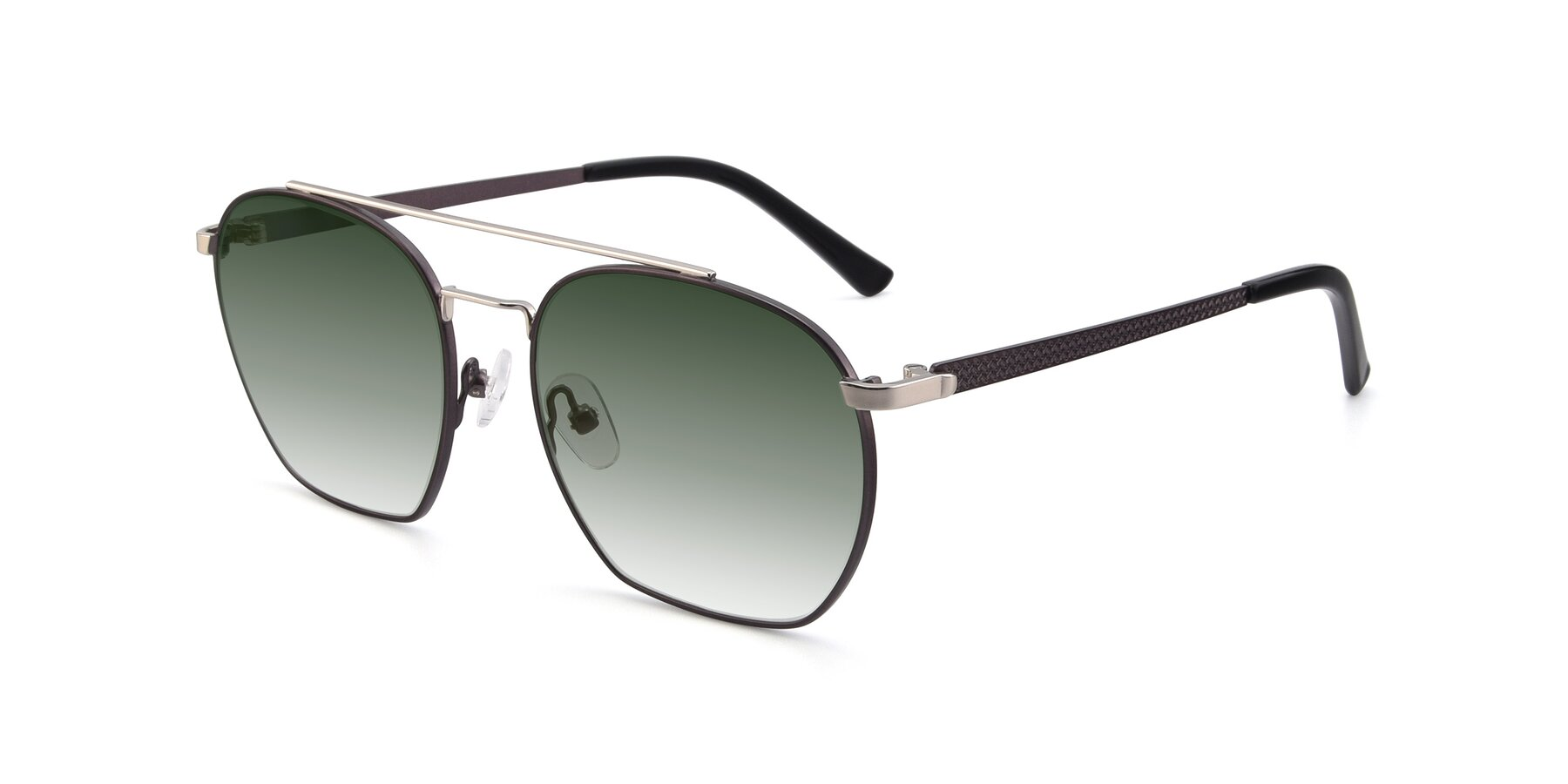 Angle of 9425 in Black-Silver with Green Gradient Lenses