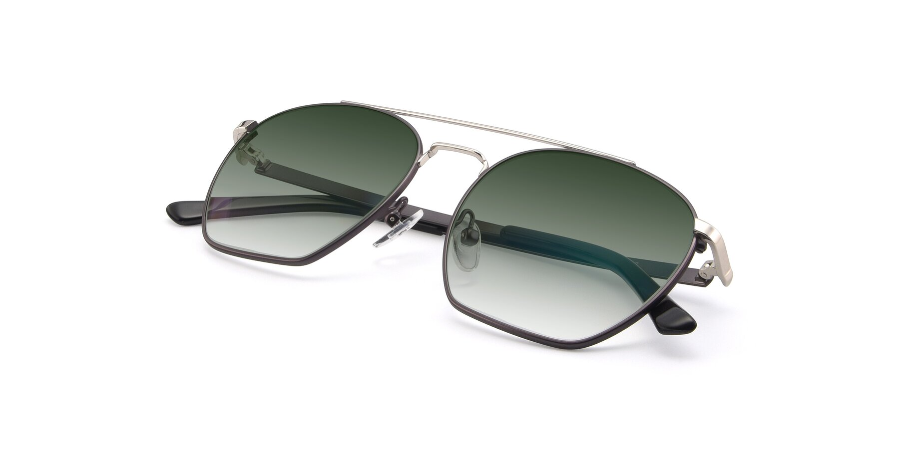 View of 9425 in Black-Silver with Green Gradient Lenses