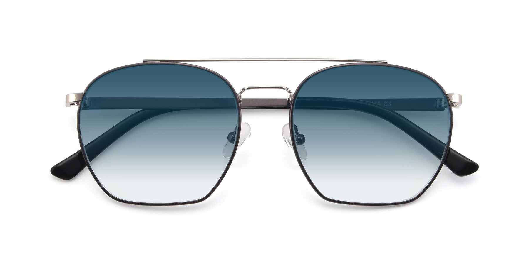 Folded Front of 9425 in Black-Silver with Blue Gradient Lenses